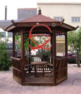 碳化木六角亭+六角桌