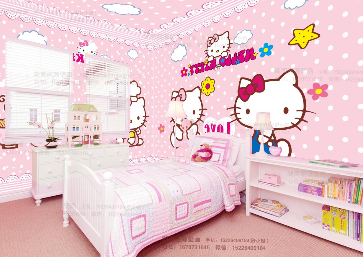 大型儿童房卧室背景卡通粉色holle kitty凯蒂猫温馨主题房墙纸壁