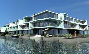 水上漂浮房屋、水上旅馆、水上餐厅