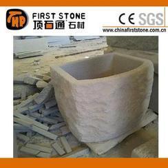 灰白色花岗岩花钵GGV302