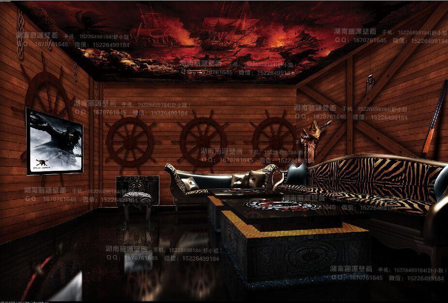 3d无缝欧式工装墙纸木纹海盗船舱主题餐厅背景墙壁纸