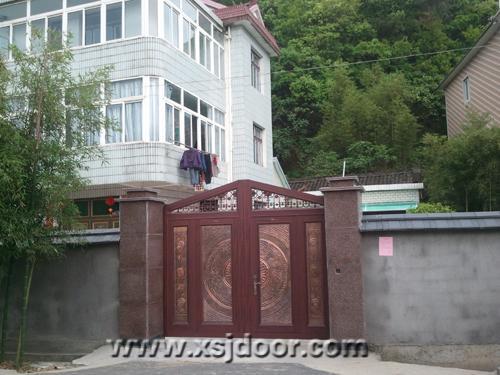 立体木纹古典智能庭院门 别墅院墙门 围墙门