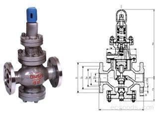 阀门及配件 减温减压阀     y13h型内螺纹连接先导活塞式蒸汽减压阀图片