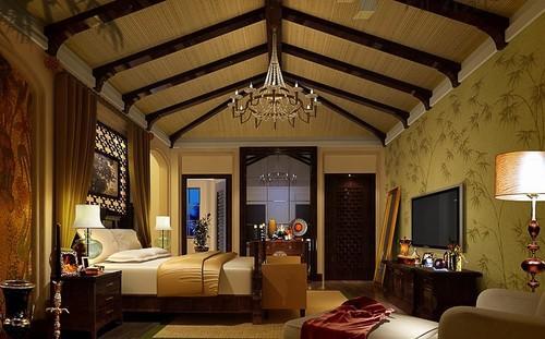 现代中式别墅装修设计效果图 高档中式别墅设