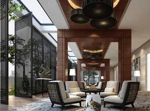 现代中式别墅装修设计效果图 高档中式别墅设计效果图