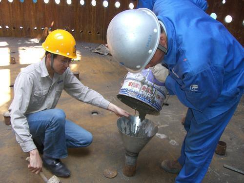"""3,灌浆料达到拆膜时间后,可进行设备安装,具体时间参见""""拆膜"""