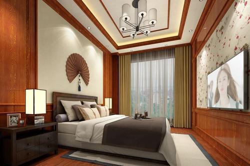 木塑板吊顶卧室效果图