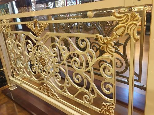 欧式高档铝雕刻护栏 众钰铝板雕花仿古铜护栏艺术镂空花格钛金楼梯