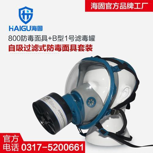 海固800球型大视野防毒面具+B型1号滤毒罐