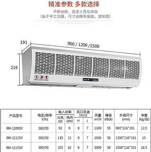 RM1212遥控开关贯流式电热风幕机