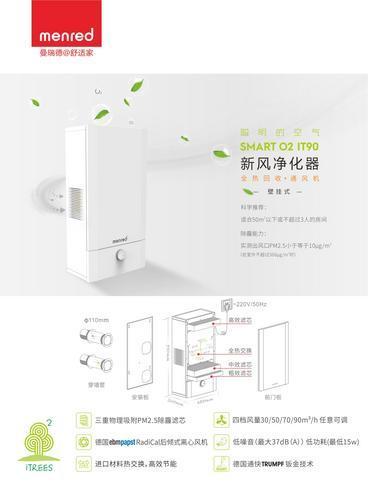 Smart O2 IT90 壁挂式全热回收新风净化器