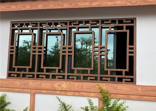 别墅铝合金窗花_港式铝窗花_仿木纹铝花格
