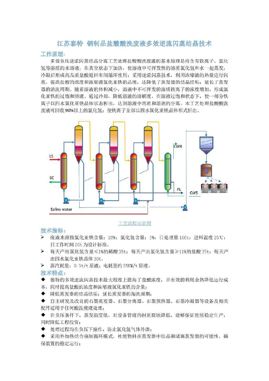 钢制品盐酸酸洗废液多效逆流闪蒸结晶装置