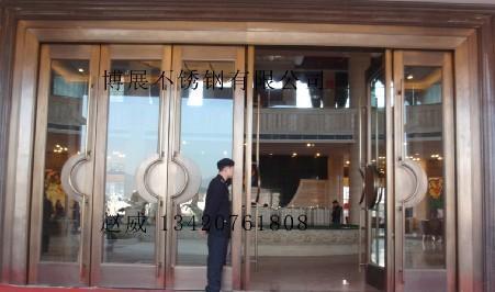 不锈钢框玻璃门电镀古铜玫瑰金黑钛