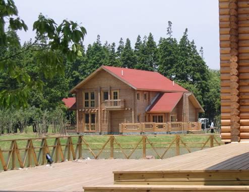 木别墅,乡村木房子,公园景区里用木结构营造出来的