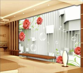 3D立体客厅电视背景墙壁画 无缝沙发壁纸