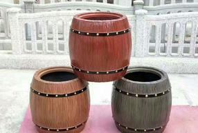 圆桶仿木花箱
