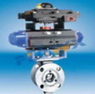 气动V型调节法兰球阀 V型调节球阀