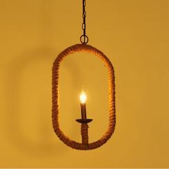 椭圆形麻绳吊灯美式乡村简约宜家灯创意餐厅灯