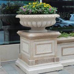 厂家直销深圳大理石石雕花钵 花园景观装饰石材花钵生产加工