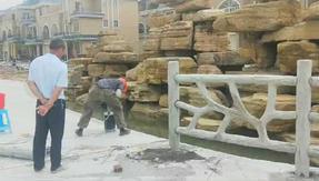 清远水泥栏杆仿树藤造型 广东仿藤条护栏图