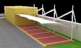 河南汽車遮陽棚,張拉膜結構車棚