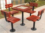 西安志诚塑木厂家供应户外小区休息桌椅,一桌四椅可插太阳伞遮阳