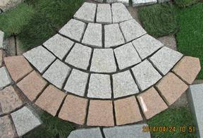 混色花岗岩扇形网贴地铺
