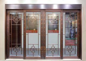 厂家铜门 玻璃铜门 防盗门