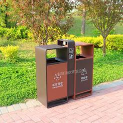 供应瑞达户外镀锌板双桶分类垃圾箱