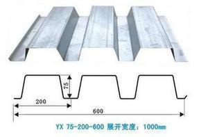 YX75-200-600开口式楼承板,厂家直销