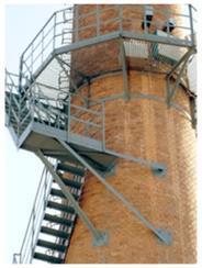 延吉烟囱安装旋转梯|烟囱折梯安装|烟囱安装检测平台
