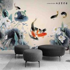 新中式水墨九鱼图荷花电视沙发背景墙 酒店床头装饰壁画无缝墙布