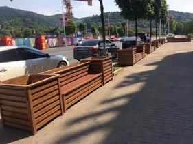延安仿木纹铝合金座椅组合花箱厂家供应商