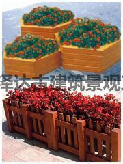 创意花箱景观花盆防腐木实木户外花园种植山东潍坊青州临朐