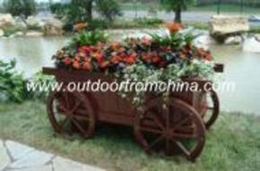 厂家供应碳化木花车,木制花车,销售楼盘花车,重庆木花车