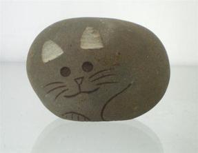 小猫艺术雕刻/鹅卵石小猫艺术雕刻 GAB459
