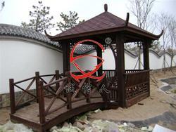 古典六角亭、仿古亭子、木制亭子、碳化木六角亭