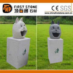 花岗岩猫头雕刻垃圾箱GTB008A+B
