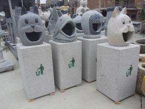 花岗岩动物头像垃圾桶GTB007