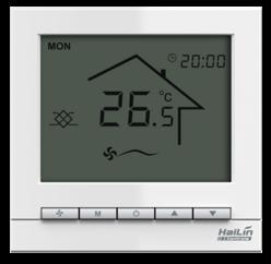 海林两管制空调型水采暖温控器HL2023DB2-L、AC220V、白色背光、无通风