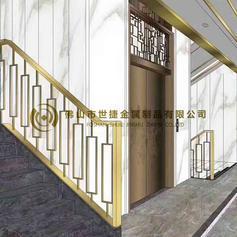 别墅香槟金不锈钢楼梯扶手护栏立柱安装