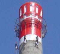 烟囱刷油漆防腐 锅炉烟囱筒身刷航标色环
