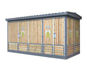 敷铝锌板贴木条箱式变电站 外壳贴木条箱变 1600KVA箱变