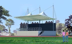 运动场主席台张拉膜,体育场看台膜结构雨棚