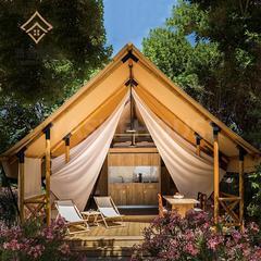 休闲度假景区野奢帐篷,木质撑杆豪华露营帐篷酒店
