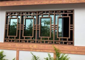 复古文化长廊仿古装饰铝合金窗花格厂家