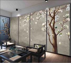 中式皮革硬包壁画 皮革加工印花背景墙定制