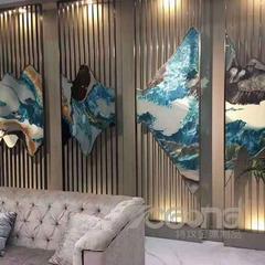 大理石不锈钢隔断_酒店简约不锈钢屏风厂家定制