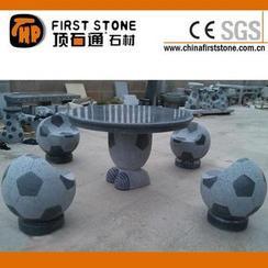黑灰色花岗岩足球桌椅GCF4002